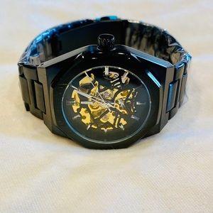 Men's black automatic mechanical watch